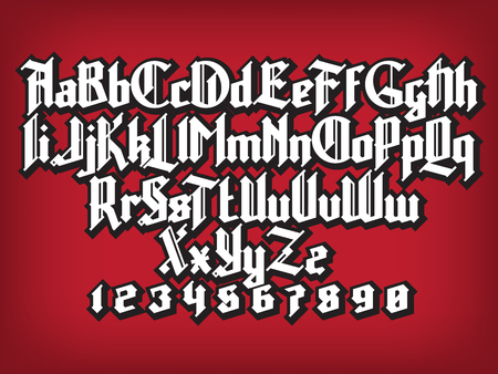 western script: New modern custom gothic font. Full alphabet set with digits