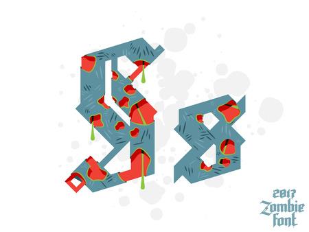 pat: Zombie monster alphabet set. New modern custom gothic font Illustration