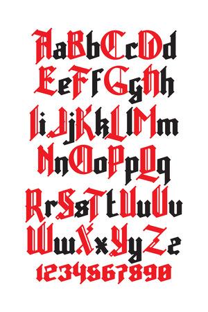 新しいモダンなカスタムのゴシック フォント。桁の設定におけるアルファベット
