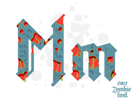 Zombie monster alphabet set. New modern custom gothic font Illustration