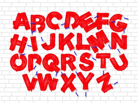 abecedario graffiti: Red color roller brush graffiti alphabet on the old brick white wall background. Vector font set Vectores