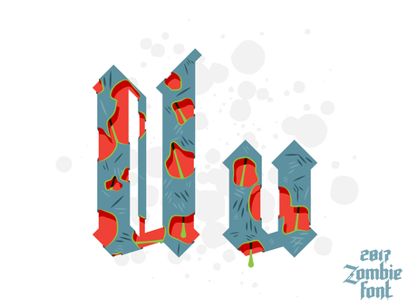 Zombie monster alphabet set. New modern custom gothic font