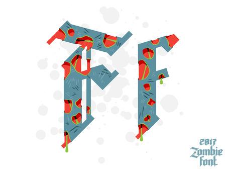 ゾンビ モンスターのアルファベットのセット。新しいモダンなカスタム ゴシック フォント  イラスト・ベクター素材