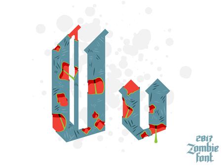 Zombie monster alphabet set. New modern custom gothic font Illustration