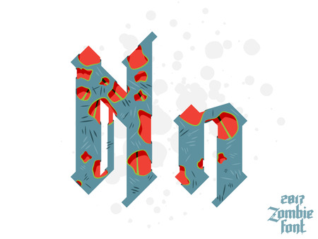 western script: Zombie monster alphabet set. New modern custom gothic font Illustration