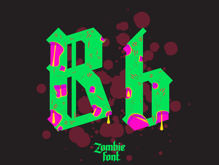 western script: Acid Zombie monster alphabet set. New modern custom gothic font