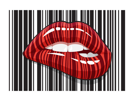 Barcode strip makeup of biting mouth. Stripped lips of bar code digital scanning.