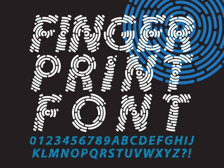 abstract information and identification fingerprint font set