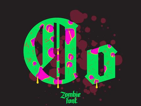 pat: Acid Zombie monster alphabet set. New modern custom gothic font