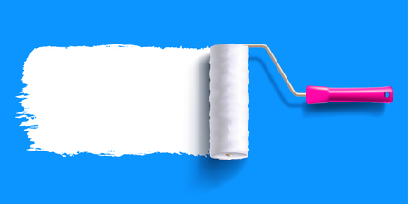 white color trail of the roller brush on colorful background for headers, banners and advertising Illustration