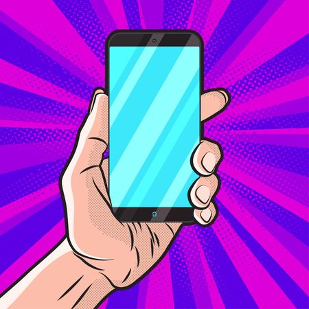 smartphone hand: PopArt Style Mokup with Smartphone in Hand Illustration