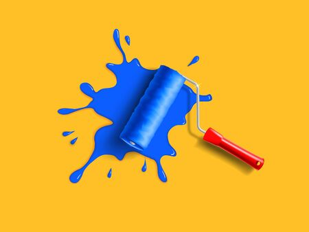 wall paint: roller brush with red handle and blue paint splash on the orange wall
