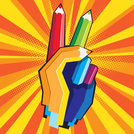 Human hand with Victory sign from color pencils Vector illustartion Illustration