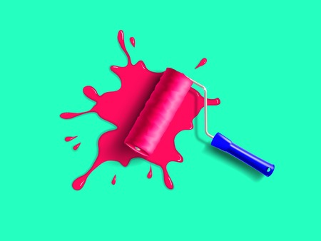 red paint roller: roller brush with blue handle and red paint splash on the green wall Illustration
