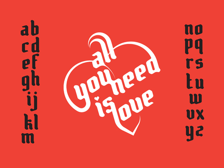 Heart lettering. All you need is love. Love typography. Custom font lettering Illustration