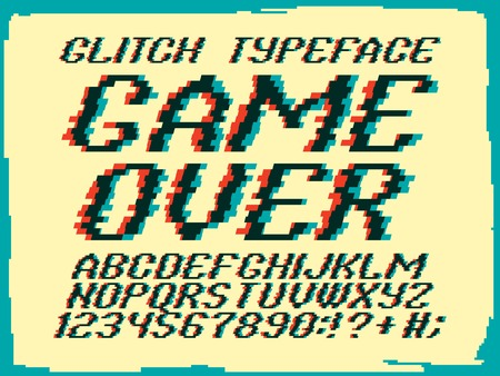 pal: Glith typeface Game Over. Glitched font and numbers set.