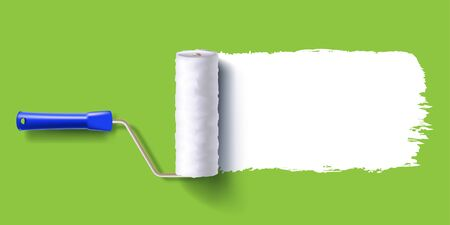 white color trail of the roller brush on colorful background for headers, banners and advertising Stock Illustratie
