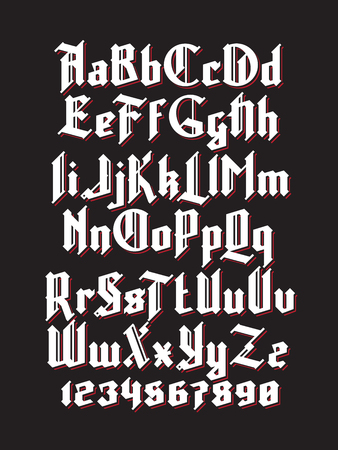 western script: White gothic font with red shadows. Full alphabet set with digits
