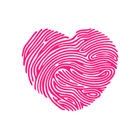 odcisk kciuka: Heart Shape abstract Finger Print valentine card