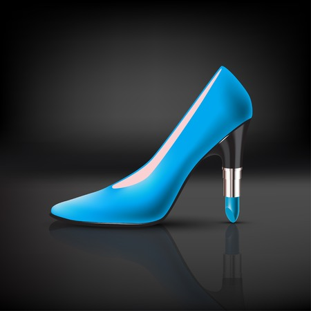 hot woman: womens color shoe with lipstick heel on dark background Illustration
