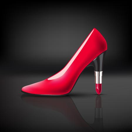piernas mujer: Zapato de color para mujer con tacón de lápiz labial Vectores