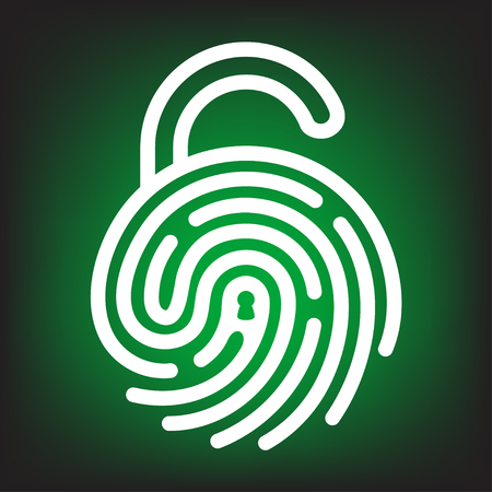 Fingerprint with open lock shape. Security concept icon. Unlock with finger print.