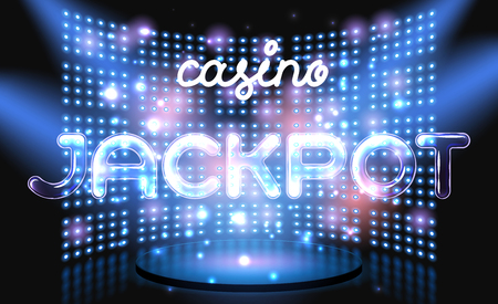 Jackpot online casino win lettering live stage on background with glowing wall. Vector abstract background Illustration
