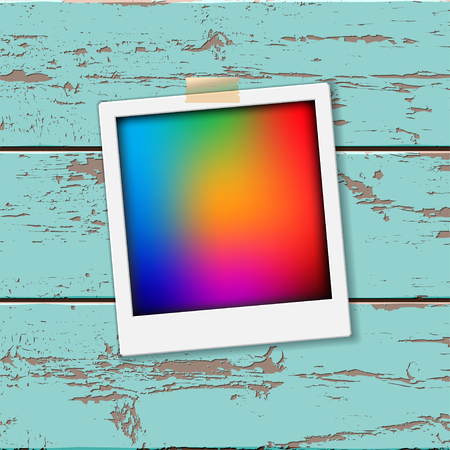 instant film transfer: Instant vintage photos frames on the old wooden background. Retro vector background