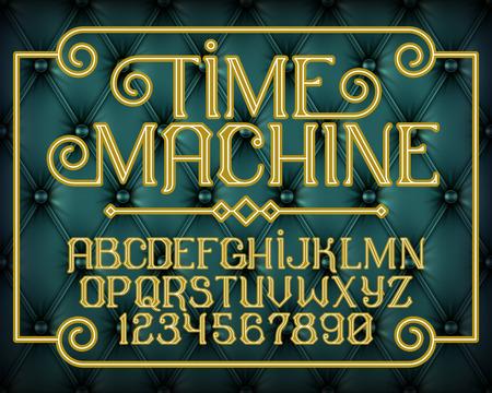 old time: Decorative gold vintage font set Time Machine on blue old leather background. Old style alphabet design. Vector illustration