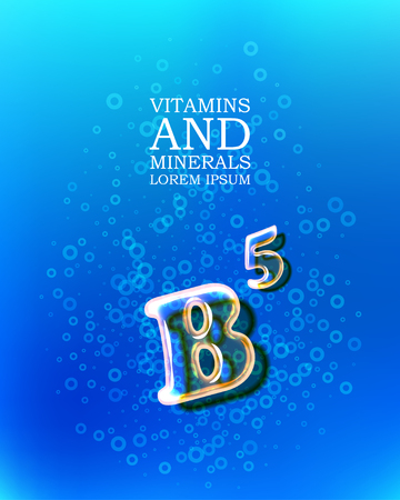 3d vitamin glass sign with transparency and shadows on the abstract bubbles background Illustration