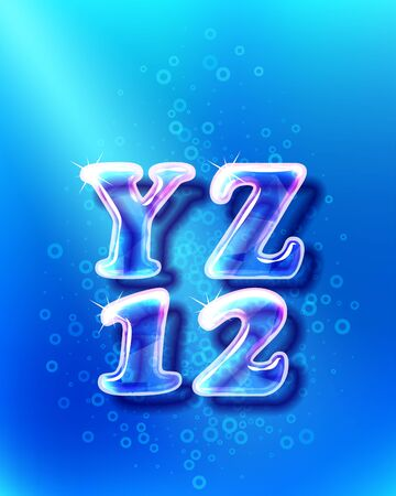 Realistic color glass alphabet font with transparency and shadows. 3D bulb isolated letters and numbers on the blue water background Illustration