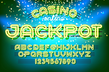 glow in the dark: Jackpot casino lettering. Neon Light Alphabet Vector Font. Neon tube letters on dark glow background