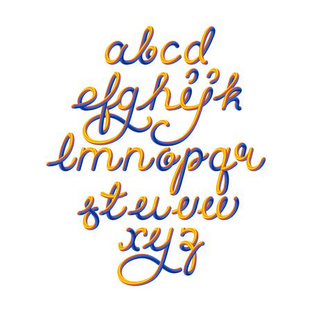 Color 3D alphabet vector pipe font on black background Illustration