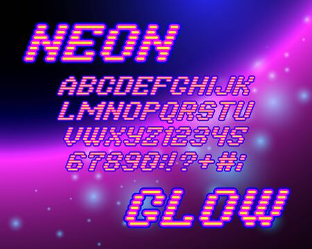 glowing star: Retro neon glowing Alphabet font and numbers on star galaxy background Illustration