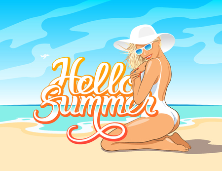 fashion and beauty: Hello Summer hand lettering with beautiful girl in white swimsuit, hat and sunglasses sitting on the sand of beach of the sea. Vector illustration