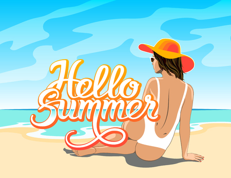 Hello Summer hand lettering with beautiful girl in white swimsuit, hat and sunglasses sitting on the sand of beach of the sea. Vector illustration