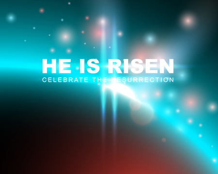 risen: He is risen, celebrate the resurrection. Easter card with space background. Vector illustration