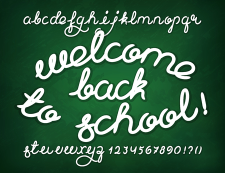 catchword: Welcome back to school. Handwritten alphabet vector font letters and digits. Illustration