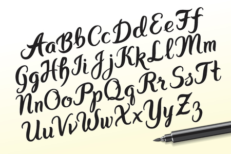 Hand drawn brushpen alphabet letters. Handwritten script font. Hand lettering custom typography with pen