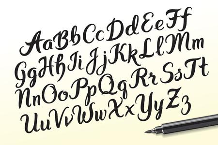 Rę cznie rysowane pę dzlem litery alfabetu. Czcionka odręczna. Pisanie indywidualnych typografii ręcznych za pomocą długopisu