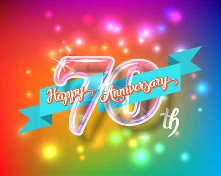 Happy 70th anniversary. Glass bulb number with ribbon and party decoration on the colorful background Illustration