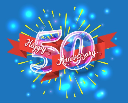 happy new year text: Happy 50th anniversary. Glass bulb number with ribbon and party decoration on the colorful background Illustration