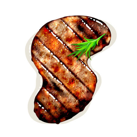 steak beef: S-shape grilled beef steak with herb spices isolated on white background. Vector illustration Illustration