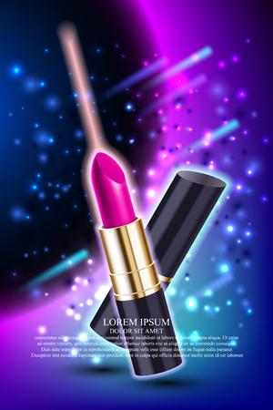 Makeup pink lipstick advertising template mockup with star sparkling background. Vector illustration. Illustration