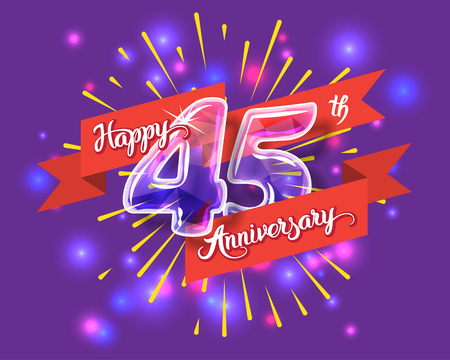 45th: Happy 45th anniversary. Glass bulb number with ribbon and party decoration on the colorful background