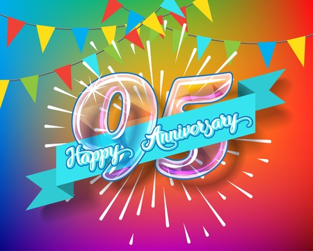Happy 95th anniversary. Glass bulb number with ribbon and party decoration on the colorful background