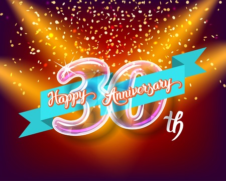 Happy 30th anniversary. Glass bulb number with ribbon and party decoration on the colorful background.