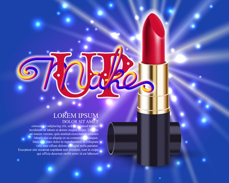 Makeup red lipstick advertising template mockup with lettering and sparkling background. Vector illustration. Illustration