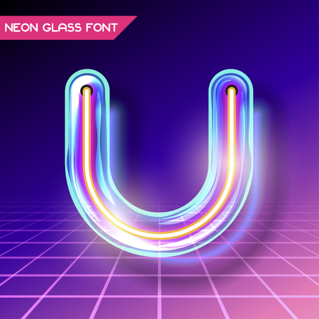 Retro neon glowing glass alphabet font with transparency and shadows. 3D light bulb isolated letter U on dark backgrounds