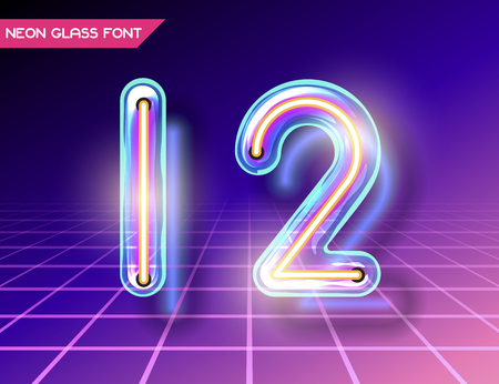 fluorescent tubes: Retro neon glowing glass alphabet font with transparency and shadows. 3D light bulb isolated numbers 1 and 2 on dark backgrounds